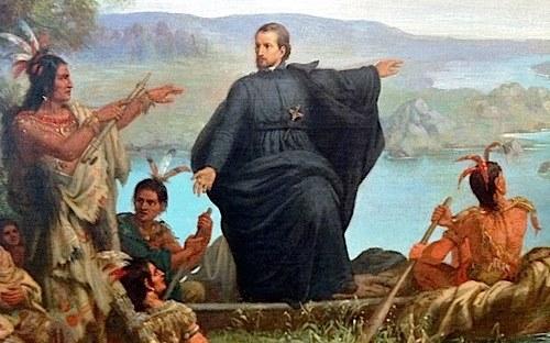 Le père Marquette et les Amérindiens